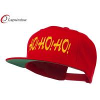 Quality Embroidered Flat Bill Cap Wool and Acrylic Red Christmas Letter Ho Ho Ho for sale