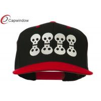 China Black Red Halloween 8 Skulls Embroidered Snapback Baseball Caps wholesale