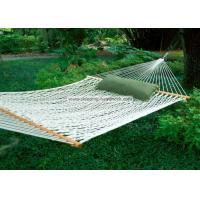 China Backyard Comfortable Deluxe Polyester Rope Hammock Bright White including Two Tree Hooks on sale