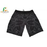 China Sublimated Black Beach Men Board Shorts With Side Pocket  Leaf Pattern wholesale