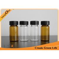 China 20ml Clear Or Amber Empty Small Glass Vials With Plastic Screw Cap , Brown Glass Bottles on sale