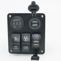 China Custom made Auto car marine 3 Gang Rocker Switch Panel with voltmeter and USB socket charger wholesale