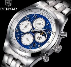 Quality Wholesale New BENYAR Men Multifunction Chronograph Quartz Wrist Watches Steel for sale