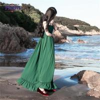 China Chiffon style empire waist green maxi long one piece dresses modern lady casual autumn dress with low price wholesale