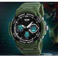 China Skmei Fashion Men Dual Time Waterproof 50m Shockproof Pu Strap Chronograph Outdoor Sport Watches 1247 wholesale