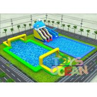 China Big Dolphin Slide Inflatable Water Park With Metal Frame Pool Soap Football wholesale