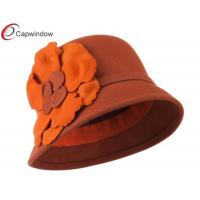 China Rust Flat Flower Wool Felt Cloche Hat / Fisherman Bucket Hat for Women wholesale