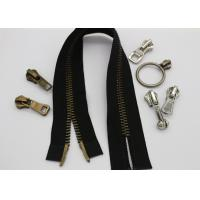 China High Polished Metal Purse Double Slider Zipper , Antique Brass Teeth 2 Way Open Ended Zips wholesale