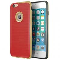 Red TPU Hard PC Bumper Hybrid Protective Personalized Iphone Case Brushed Texture