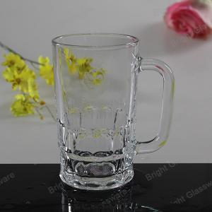 China machine press glass beer mug, glass tumbler with handle wholesale