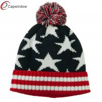 China American Flag Pom Knit Beanie Winter Hats Acrylic for Adult / Unisex wholesale