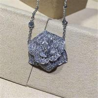 China Piaget   full  diamonds of  rose necklace 18kt  gold  with white gold or yellow gold wholesale