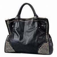 China Black Retro Lady Business Lady Handbags With Shiny Diamonds Tote Of Polyester Inner on sale