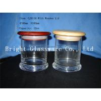 China different size glass candle jars with wooden lid wholesale wholesale