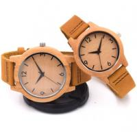 China OEM Couple bamboo watch  genuine leather strap quartz wrist watch bamboo watches wholesale