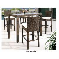 Patio High Top Wicker Rattan Bar Table And Chair With