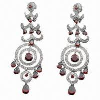 China Sterling silver drop earrings with cubic zinc and jade rhinestones, silver jewelry sv925 earrings wholesale