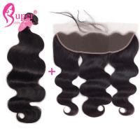 Body Wave Brazilian Virgin Hair Extensions With Swiss Lace Frontal Sewin Natural Black