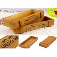 China Printing Color Wooden Crate Gift Box , Custom Wooden Packaging Box Without Lid Wood Tray wholesale