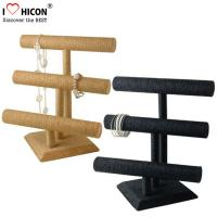 China Retail Shop Fashion Accessories Display Stand 3-layer Wood Tabletop Sliver Bracelet Display Stand wholesale