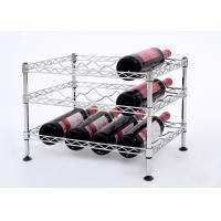 China Mini Wine Rack Metal Display Shelf Carbon Steel Material Size: 45*30*32CM on sale