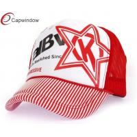 China Embroidered Red Stripe Trucker Mesh Cap Velcro Strap Back Hats For Summer wholesale