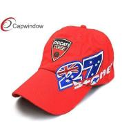 China Red Cotton Racing Baseball Caps Flat Brim With 3D Embroidery , Adjustable wholesale