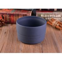 China Popular Round Ceramic Candle Jars / Ceramic Candlestick Holders Matte Concrete Grey on sale
