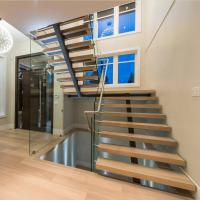 China Contemporary floating staircase with wood tread invisible stringer straight stairs wholesale