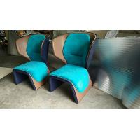 China Blue Cassina Gender Fiberglass Arm Chair With Coloured Leather Edge wholesale
