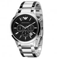 China Wholesale Emporio Armani Luxury AR2434 Chronograph Black Dial Steel 42mm Mens Watch wholesale