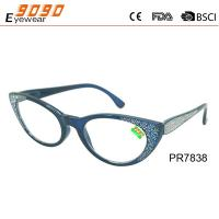 China Fashionable reading glasses,made of plastic frame with diamond on the frame and temples, suitable for men and women on sale