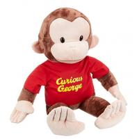 China Small Animal Plush Dolls Curious George Red Shirt 12 Inch Plush For Children wholesale