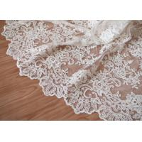 China Retro Embroidery Ivory Bridal Lace Fabric / Stretch Tulle Fabric For Wedding Dresses wholesale