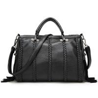 Black Cow Split Leather Fashion Ladies HandBags Tassel Weaving Decoration