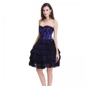 China Breathable Purple Black 2XL Bodycon Corset Mini Dress With Zipper wholesale