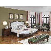 China American Western design style Villa Bedroom furniture Fabric Headboard Screen Wood Bed with Leather Bench and  Armchair wholesale