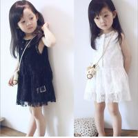 2016 Fashion Girl White Kid's Dress Dancing Chinese Lace Dress Cute Prince Q097