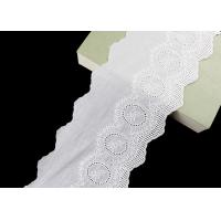 China Embroidered Cotton Eyelet Lace Trims With Floral Pattern Scalloped Via OEKO TEX wholesale
