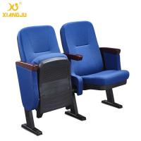 China Church Long PP Outer Back Pocket Wrap Fabric Auditorium Chairs With Metal Legs wholesale