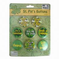China Button Badges with Blister Packing, Customized Designs are Accepted, Ideal for Promotional Purposes wholesale