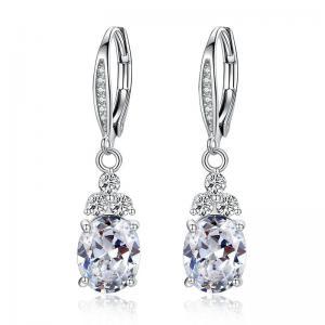 Blue Crystal Fashion CZ Cubic Zirconia Jewelry Drop Earrings Anti Allergic