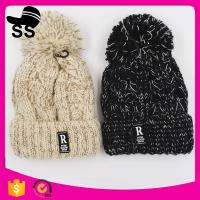 China 2017 top women 20*24+5cm 109g fashion cheap knitted pom pom clip flower beanie wholesale winter knitting hats on sale