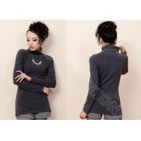 China Elegant O Neck Long Sleeve Womens Cashmere Sweaters , Gray Long Sweater for Ladies wholesale