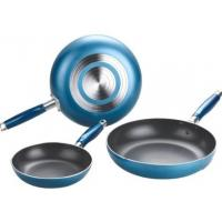 China Blue Stamped Aluminum Nonstick Frying Pans , 16CM - 36CM wholesale