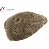 Quality Brown Fashion Plaid Baseball Hats , Polyester and Rayon / Ivy Cap for sale