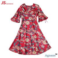 China 89D18026 New 15Dollor Summer Fashion V-Neck Half Sleeve Floral Print Women High Waist Beach Dress wholesale