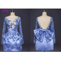 China Blue Color See Through Short Long Sleeve Evening Dresses With Bowknot wholesale