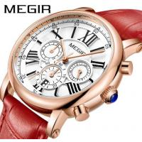 China MEGIR Ladies Multifunction Waterproof 30m Chronograph Genuine Leather Strap Casual Wrist Watches 2058L wholesale