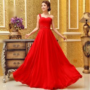 China Silk Chiffon One Shoulder Qipao Wedding Dress withsweetheart neckline wholesale